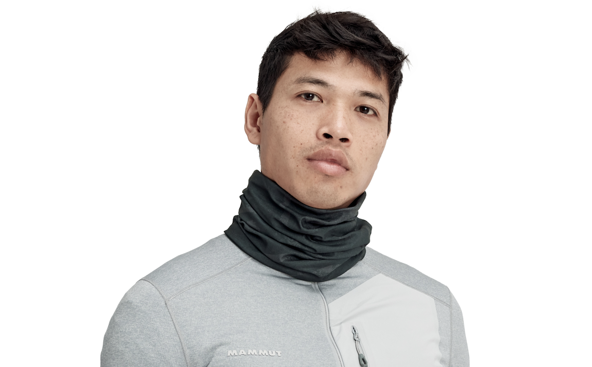 Man wearing black neck gaiter