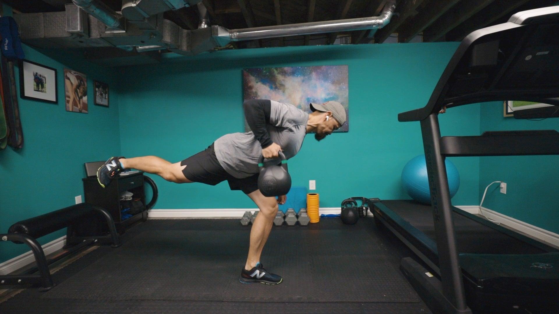 romdead3 Entrenamiento dinámico de fuerza con pesas rusas de 5 ejercicios para corredores de pista