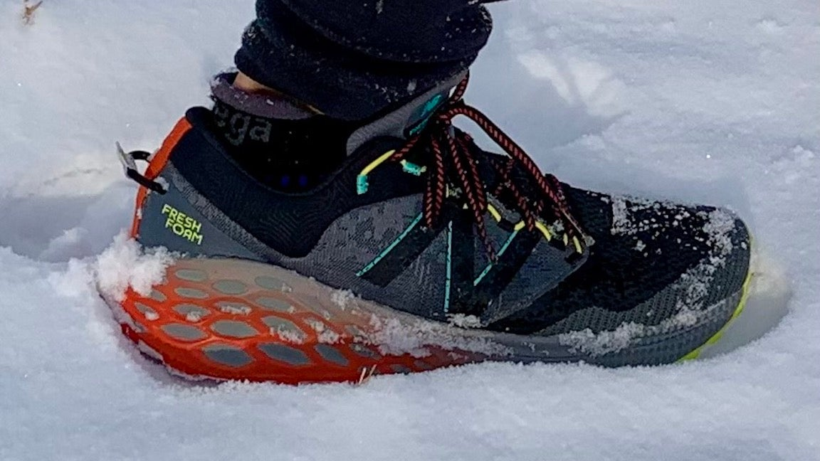 trail shoe in snow