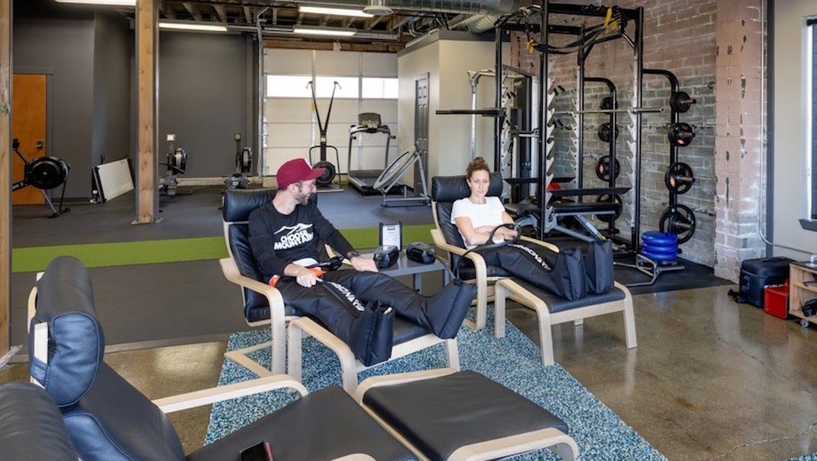 Krissy Moehl recovering in the Prime Training Room.