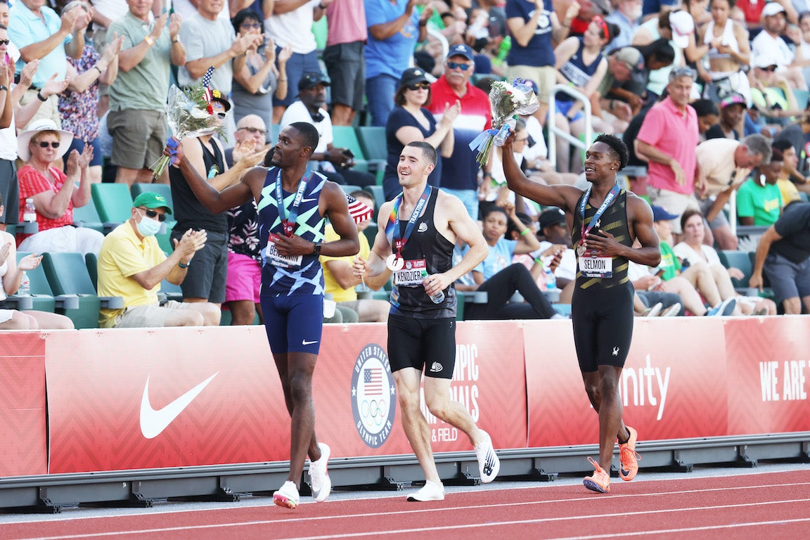 Rai Benjamin, first, Kenny Selmon, second, and David Kendziera, third celebrate after the Men's 400 Meters Hurdles Finals.
